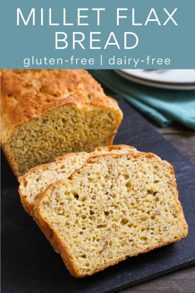 Gluten free millet bread with flax on a cutting board