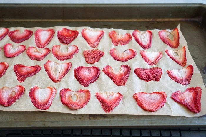 Dried strawberries after baking in oven
