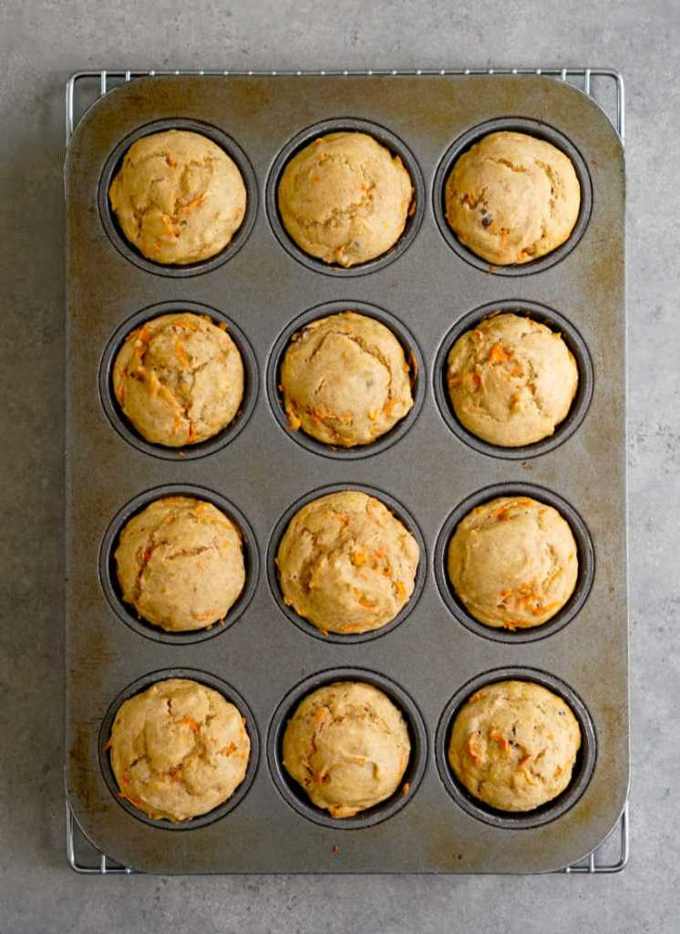 Muffins cooling in the pan from above