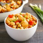 Cauliflower chickpea curry in a bowl