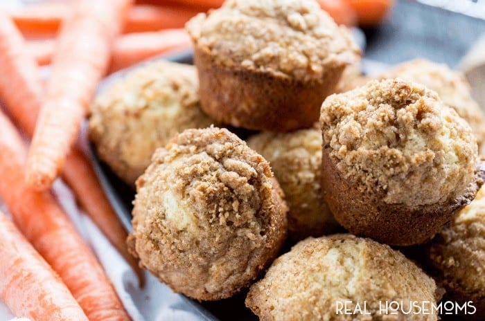 Our CARROT COFFEE CAKE MUFFINS are soft and fluffy muffins, stuffed with carrots and coconut, and a cinnamon sugar streusel crumb topping!