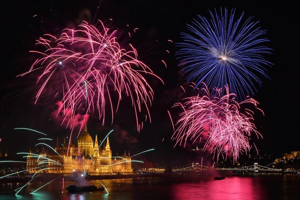 fireworks, parliament, budapest