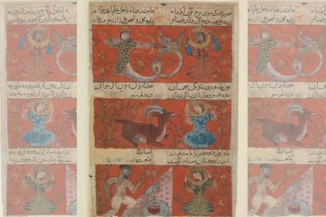 Ancient Persian drawing of the Moon in Sagittarius, Capricorn and Aquarius