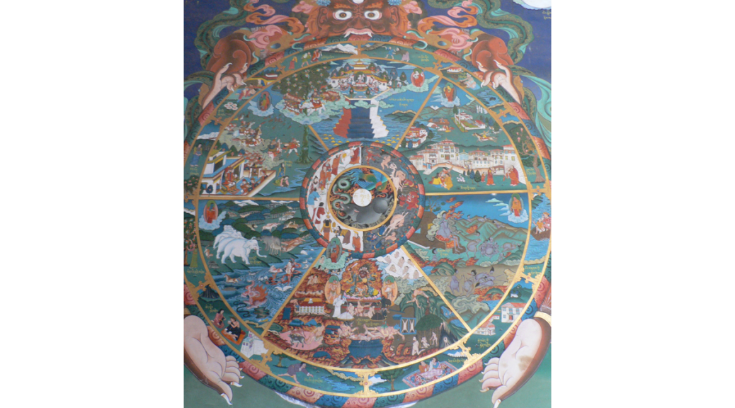 Traditional Tibetan thangka showing the bhavacakra and six realms of Sa?s?ra in Buddhist cosmology