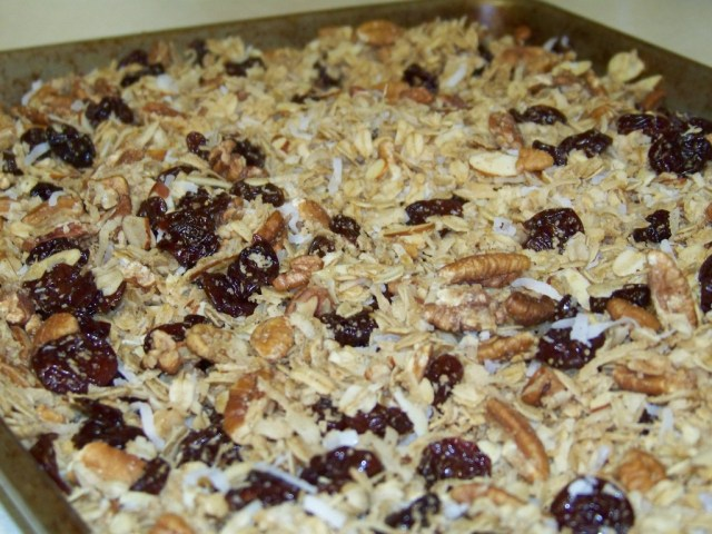 Tart cherry granola with toasted coconut and pecans