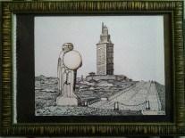 Autor;Mario Cuturi/Rua Nova N °1-3°-DP;15172- A Coruna-Spain.Titulo de la obra;Torre de Hercules.Tecnica;Rotulador.Tamano;18 X 23 cm