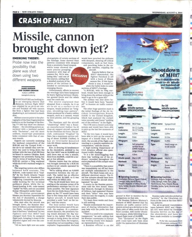 Missile, Cannon Brought Down Jet -- New Straits Times, Malaysia