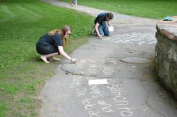 Chalking the walk with tobacco facts at Canton Park