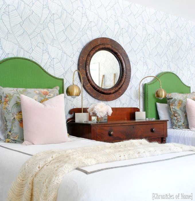 Upholstered Headboard Ideas for Kids   to buy or DIY  Green Upholstered Headboard for kids  Lots of ideas for fabric headboards
