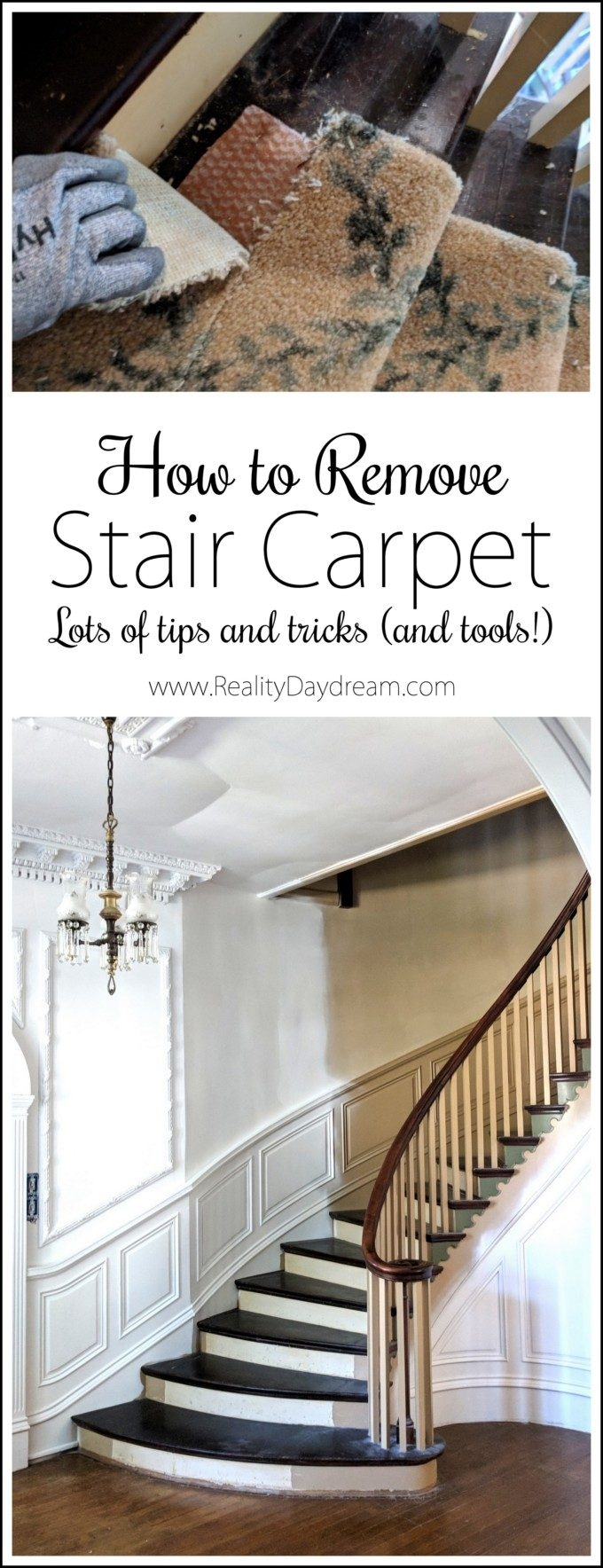 How To Remove Stair Carpet Tips And Tricks Reality Daydream | Stairs With Carpet In The Middle | Runner Corner | Laminate | Contemporary | Run On Stair | Marble