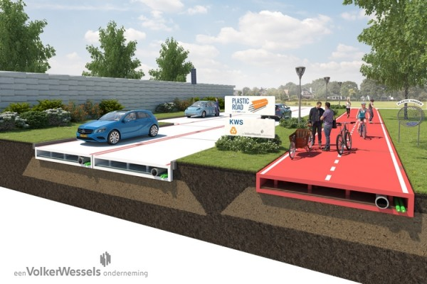 plasticroad 1 600x400 Water Bottles & Other Discarded Plastics Turned Into Long Lasting Roads For The Future