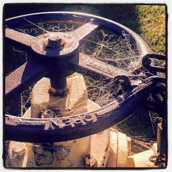 Rusty Valve Wheel Chained in Place