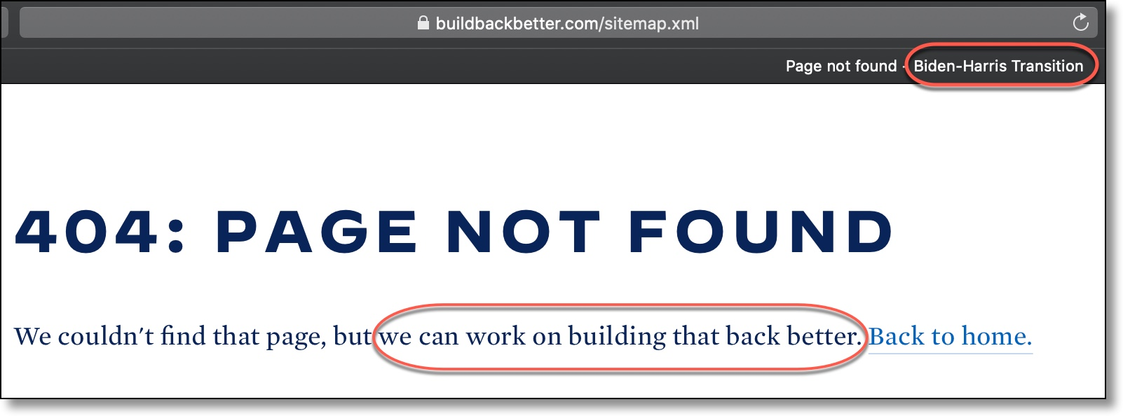 Biden Harris 404 Error Page Not Found