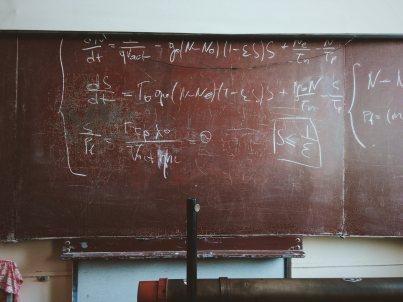 Formulas on a chalk board