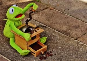 Kermit Grinding Coffee