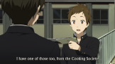 This falls out of the cinematography talk for a bit, but Satoshi is eager and willing to hand Oreki the things he's picked up. After all, Satoshi is a collector—not a detective.