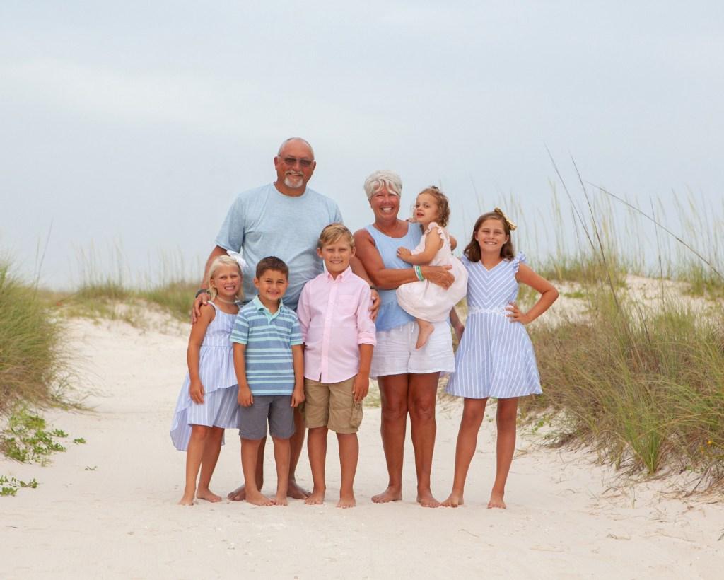 test shot of family members on beach
