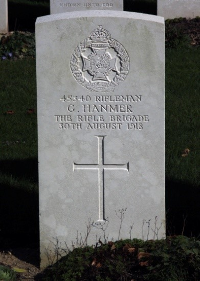 Headstone, George HANMER, Croiselles British Cemetery France