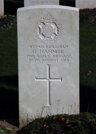 Headstone, George HANMER, Croiselles British Cemetery France