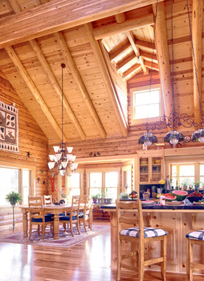 kitchen lighting in the log home real
