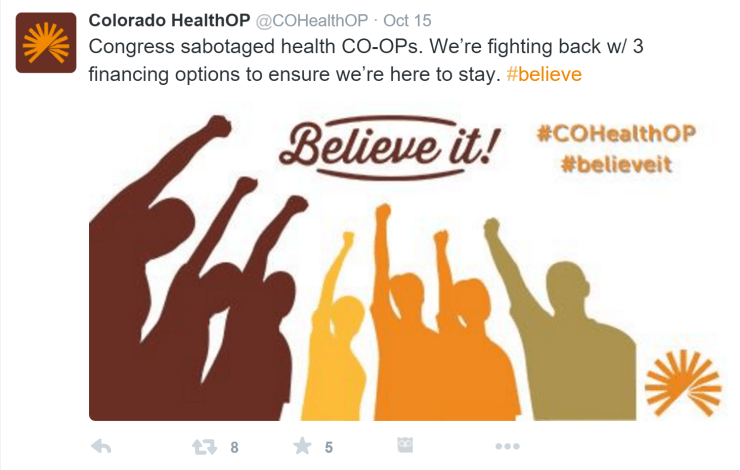 Rachel Moore created a Twitter Ad Card to promote for Colorado HealthOP