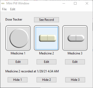 Shows three customized medicines with different images.