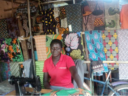 Pauline in her sewing shop
