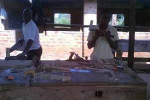 students practicing joinery