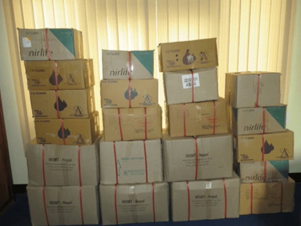 Medical Supplies for Arupokhari clinic at our Kathmandu office
