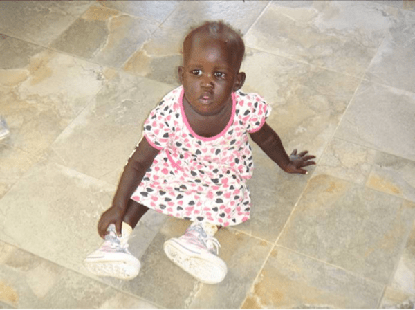 little girl on hospital floor