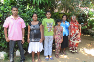 Project beneficiaries with Nishantha: Nishantha, Tharindu's wife, Gayan, Madumekala, Madura's mother, and Fazeer's aunt