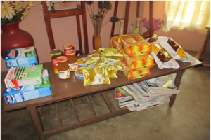 Some of the food items to be distributed to the children