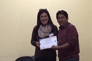 receiving an award in peru
