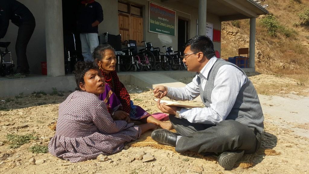 RMF Program Manager Ganesh Shrestha with Hira Maya Lama and her mother