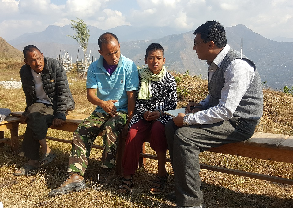 Arunima Lama and her father with Mr. Ganesh Shrestha