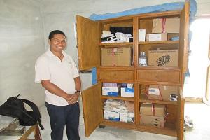 Mr. Bal Krishna Gautam (in charge of Dhuseni Siwalaya Health Post), Mr. Suman Gurung (RMF Finance Manager), and Mr. Ganesh Shrestha (RMF Program Manager) at Dhuseni Siwalaya Health Post