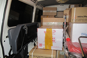 An RMF van's trunk is full of medical supplies