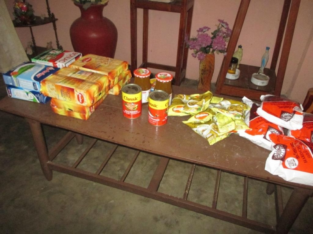 Food items ready to be distributed to the beneficiaries