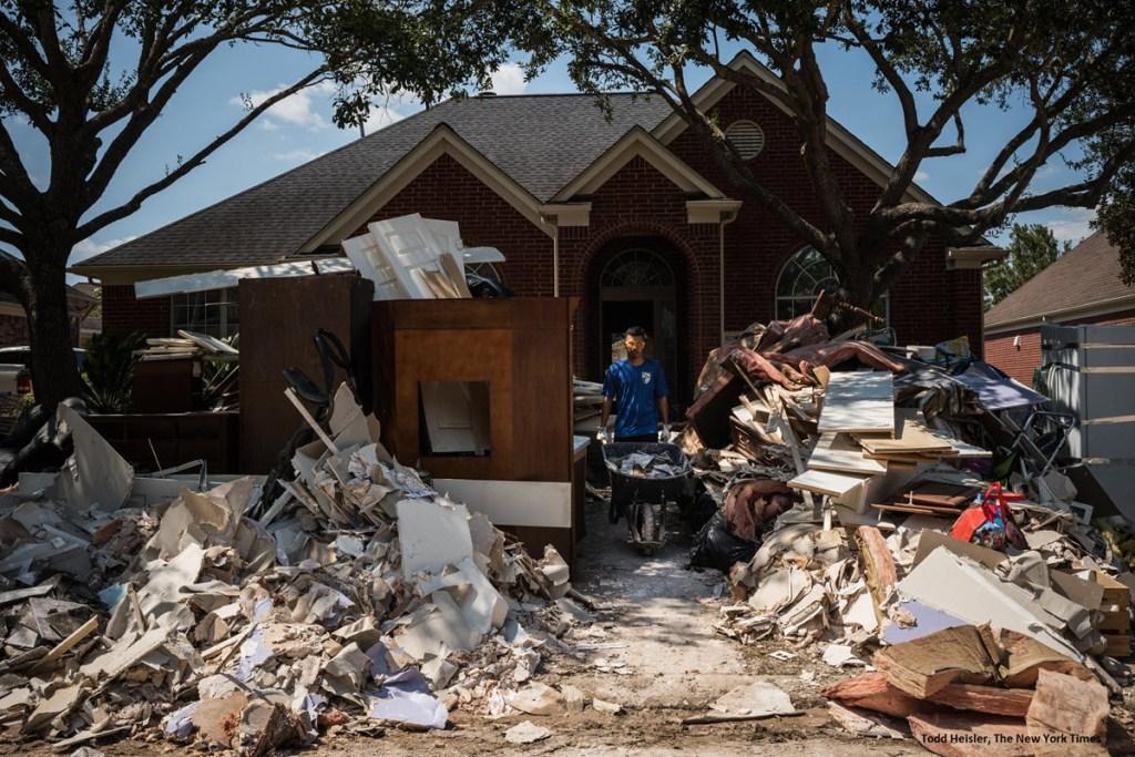 Removing debris after Hurricane Harvey