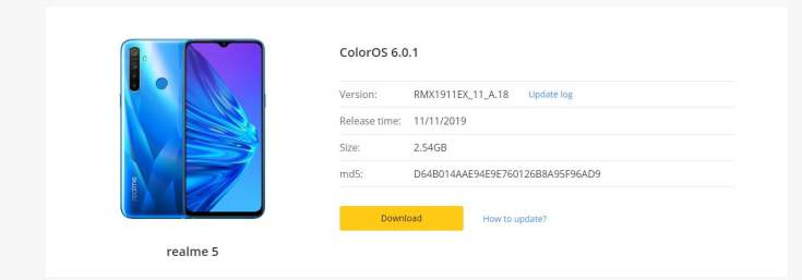 Realme 5 October Security Patch Update Rolling Out | Download Link
