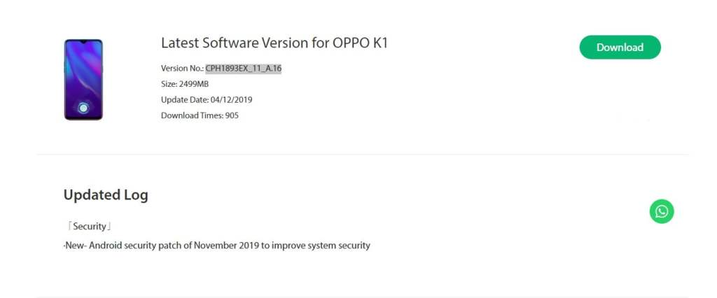 Oppo K1 NovemberSecurity Patch Update Rolling Out