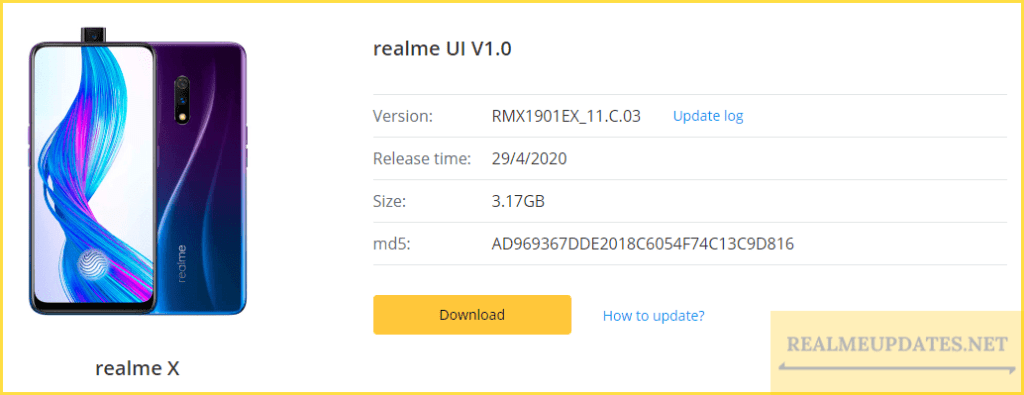 Realme X C.04 June 2020 Security Patch Update Software Update Page  [RMX1901EX_11_C.04] - Realme Updates