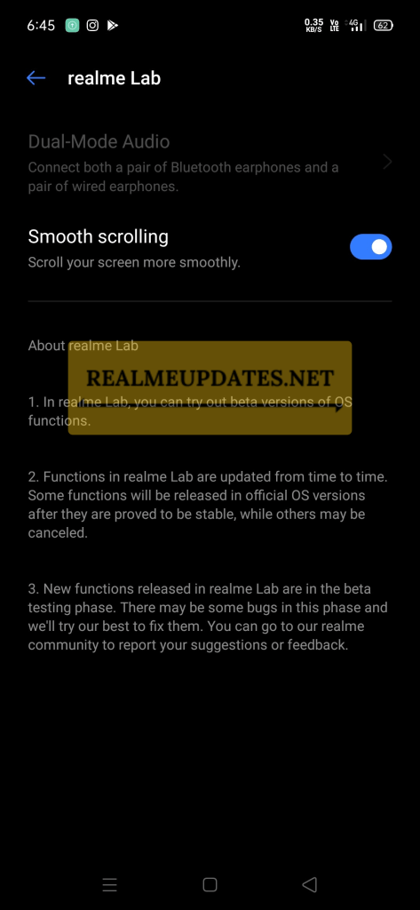 Realme UI Smooth Scrolling Feature - Realme Updates