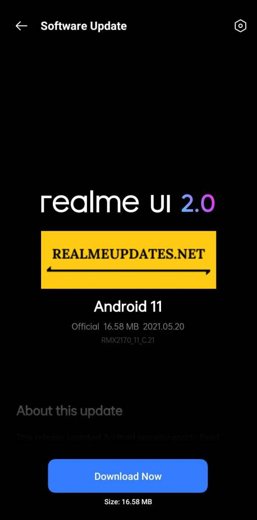 Realme 7 Pro May 2021 Security Update Screenshot - Realme Updates