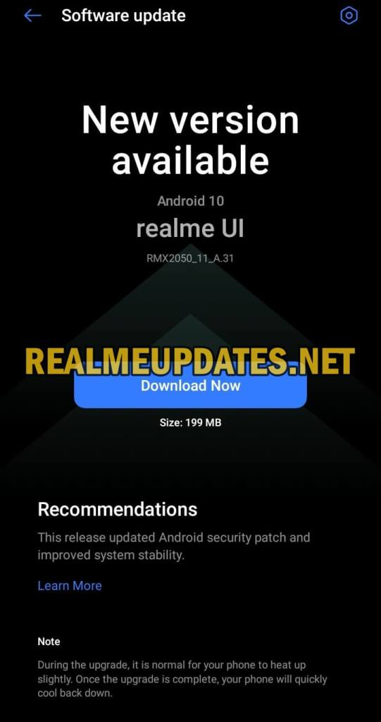 Realme Narzo 20A May 2021 Security Update Screenshot - Realme Updates