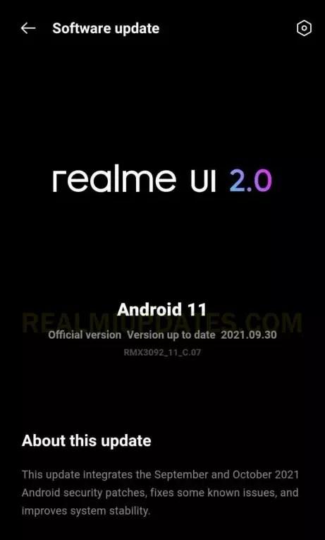 Realme X7 5G October 2021 Security Update Screenshot - RealmiUpdates