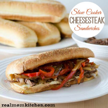 Slow Cooker Cheesesteak Sandwiches   realmomkitchen.com