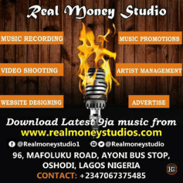 REAL MONEY STUDIO  music rrecording studio in Lagos.Are you looking for :Music recording studio in Lagos ?Music video shooting in Lagos ?Music promotions, upload, blogging ?Website designing ?Songs mixing and mastering in Lagos ?Music production training in Lagos  ?Music productions in Lagos mainland ?We produce any type of music in Lagos.We are into music business in Lagos so let get your music work done in Lagos.Contact REAL MONEY STUDIO in Lagos onTel: 07067375485.Or visit No. 96 Mafoluku road Ayoni bus stop Oshodi Lagos Nigeria.
