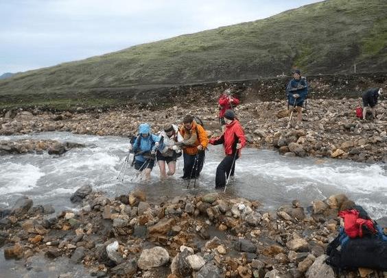 trek iceland river crossing