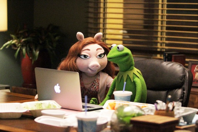 Kermit and his new pig ... I can't even remember her name.